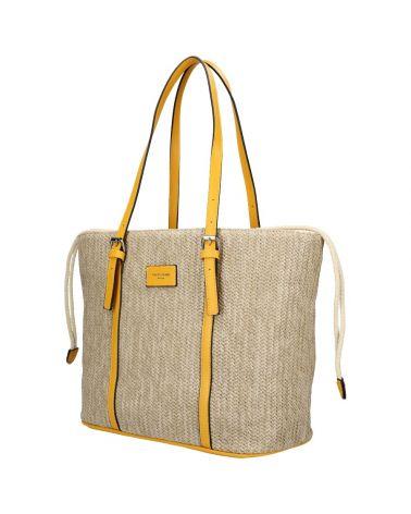 David Jones kabelka RAFFIA SHOPPER BAG žlutá 6283 6283_YW