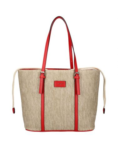 David Jones kabelka RAFFIA SHOPPER RED 6283 6283_RD