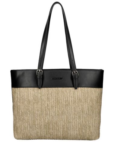 David Jones kabelka RAFFIA SHOPPER HEM BLACK 6045 CM6045_BK