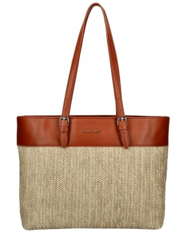 David Jones kabelka RAFFIA SHOPPER MALIA COGNAC 6045 CM6045_CC