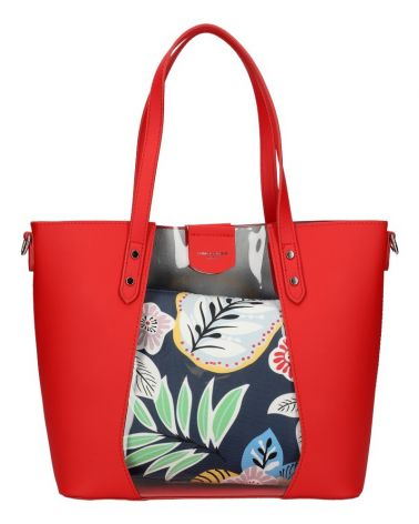 David Jones SET kabelka shopper FLORAL RED 6245 6245_RD