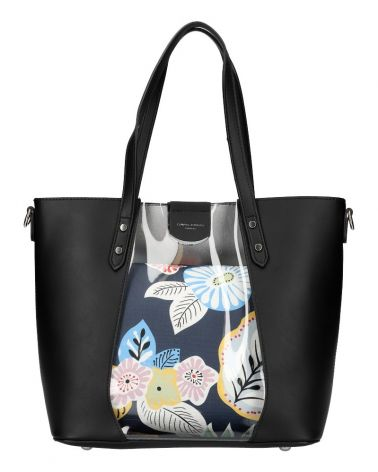David Jones SET kabelka shopper FLORAL BLACK 6245 6245_BK