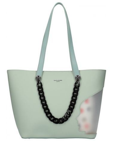 David Jones SET kabelka shopper CLADIE DOTTED GREEN 5740 cm5740_GN