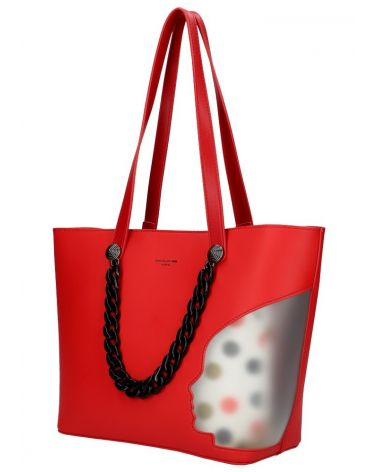 David Jones SET kabelka shopper CLADIE DOTTED RED 5740 cm5740_RD
