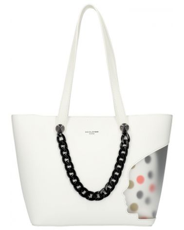 David Jones SET kabelka shopper CLADIE DOTTED WHITE 5740 cm5740_WE
