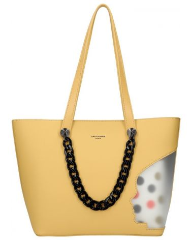 David Jones SET kabelka shopper CLADIE DOTTED YELLOW 5740 cm5740_BK