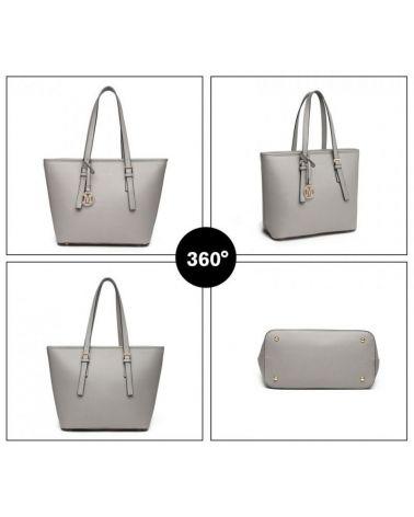 Miss Lulu kabelka shopper MINIMALIST GREY 2054 LT2054_GY