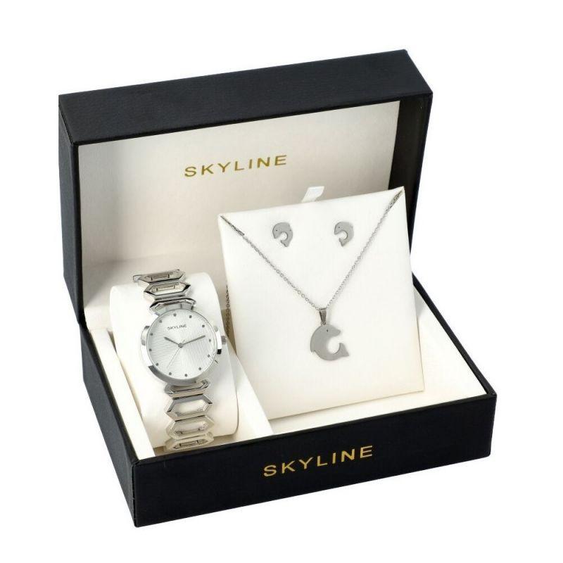 SKYLINE dámská dárková sada hodinek ve stříbrné barvě s náhrdelníkem 5555 5555-3
