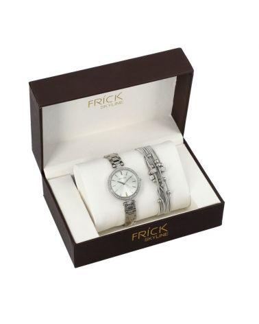 SKYLINE dámská dárková sada hodinek ve stříbrné barvě s náramkem 2011 R2011
