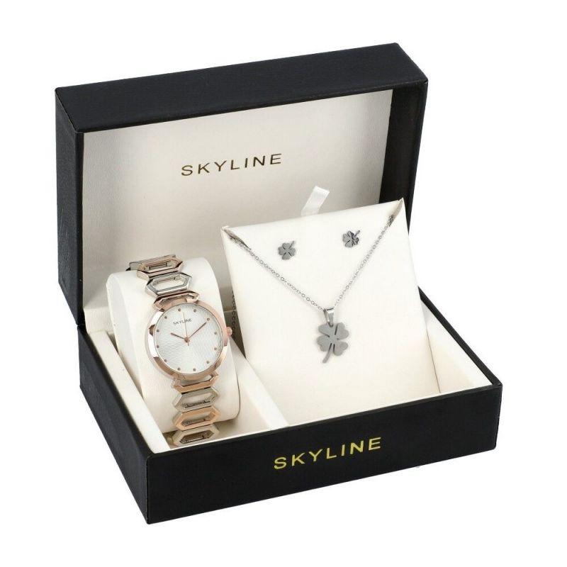 SKYLINE dámská dárková sada hodinek ve stříbrné barvě s náhrdelníkem 8333 8333