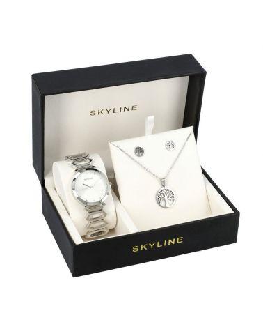 SKYLINE dámská dárková sada hodinek ve stříbrné barvě s náhrdelníkem 8555 8555