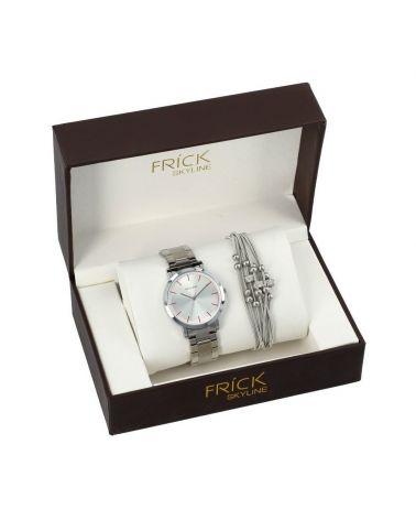 SKYLINE dámská dárková sada hodinek ve stříbrné barvě s náramkem R2014 R2014