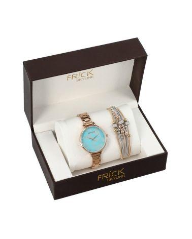 SKYLINE dámská dárková sada hodinek ve rose gold barvě s náramkem R2010 R2010