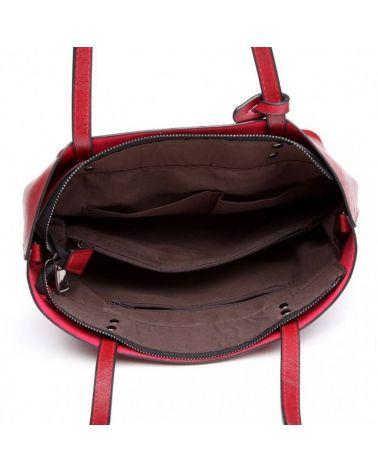 Miss Lulu vínově červená kabelka z imitace voskované leštěné kůže 6710 E6710_BY