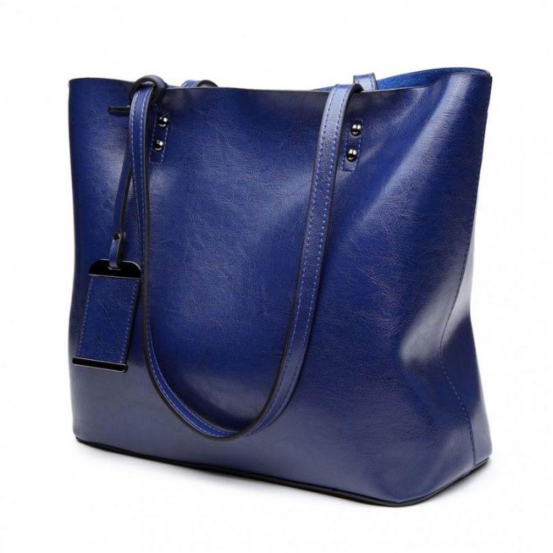 Miss Lulu modrá kabelka z imitace voskované leštěné kůže 6710 E6710_NY
