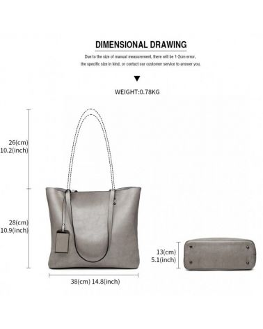 Miss Lulu šedá kabelka z imitace voskované leštěné kůže 6710 E6710_GY
