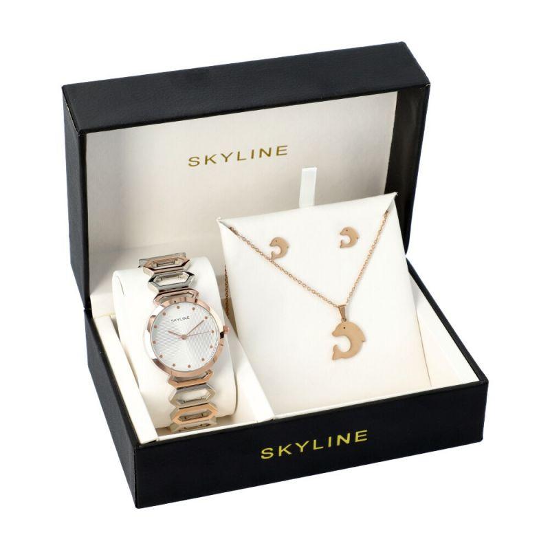 SKYLINE dámská dárková sada hodinek ve zlaté barvě s náhrdelníkem 5222 5222-3