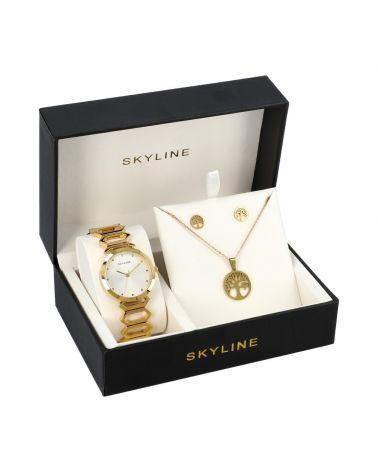 SKYLINE dámská dárková sada hodinek ve zlaté barvě s náhrdelníkem 8888 8888-17
