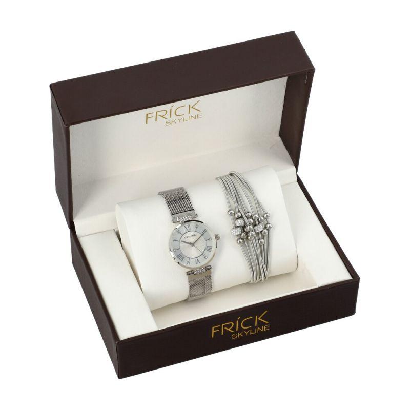 SKYLINE dámská dárková sada hodinek ve stříbrné barvě s náramkem 2004 R2004-3