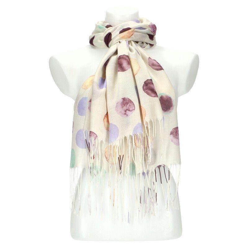 Dámský šátek bílý krémový DOTTED 11038773_BG
