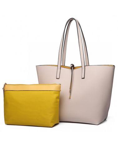 Miss Lulu SET velká oboustranná kabelka 3 v 1 béžová 6628 LT6628_BG