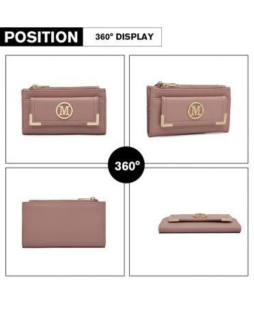 Miss LuLu růžová dámská peněženka M METAL LOGO 6882 LP6882_PK