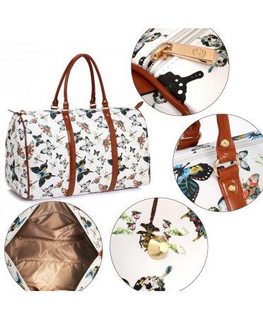 Anna Grace AG00479A - bílá kabelka víkendová cestovní taška se vzorem motýlků AG00479A_WHITE