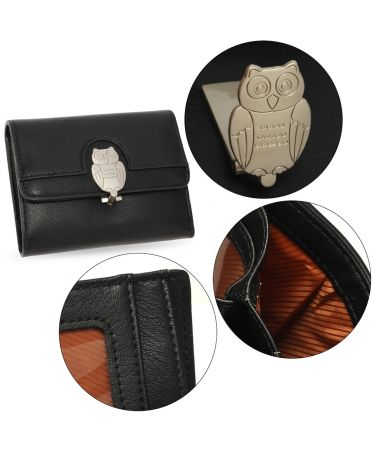 Anna Grace černá peněženka s motivem sovy 1102 AGP1102_BLACK