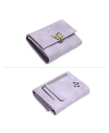 Anna Grace fialová peněženka s kovovou sponou ve tvaru motýla 1103 AGP1103_PURPLE