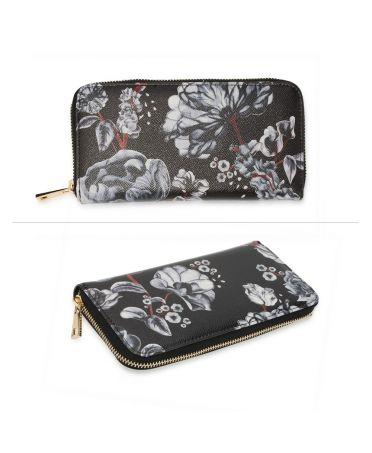 Anna Grace černá-bílá peněženka s květinovým potiskem a zipem 1108 AGP1108_BLACK/WHITE