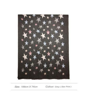 Anna Grace maxi šála s hvězdičkovým vzorem 11 AGSC011_GRAY