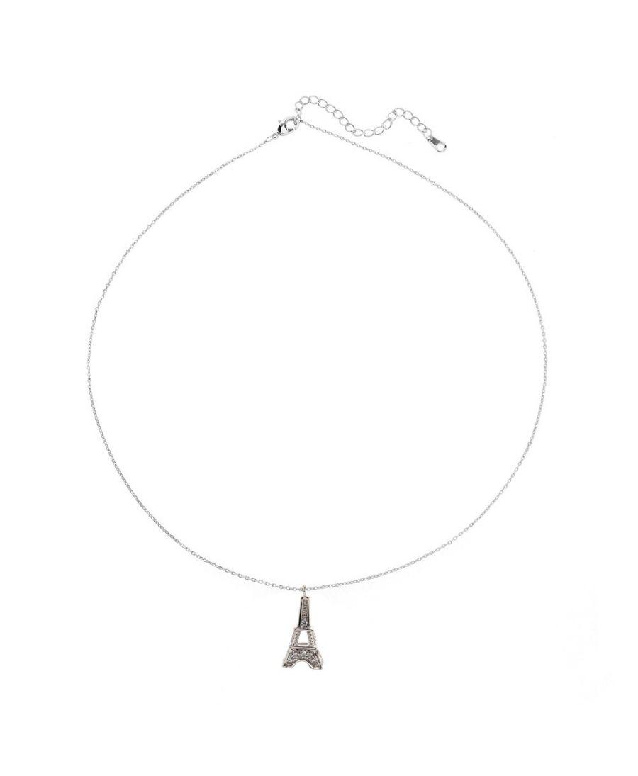Anna Grace náhrdelník Silver Sparkling Crystal Eiffel Tower 53 AGN0053_SILVER