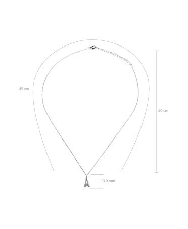 Anna Grace náhrdelník Silver Sparkling Crystal Eiffel Tower AGN0053_SILVER