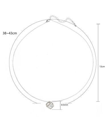 Anna Grace náhrdelník Silver Plated Crystal 3D Cube 21 AGN0021_SILVER