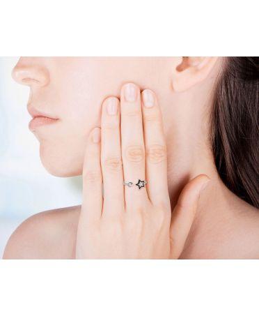 Anna Grace prstýnek Silver Sparkle Crystal Star 46 AGR0046_SILVER