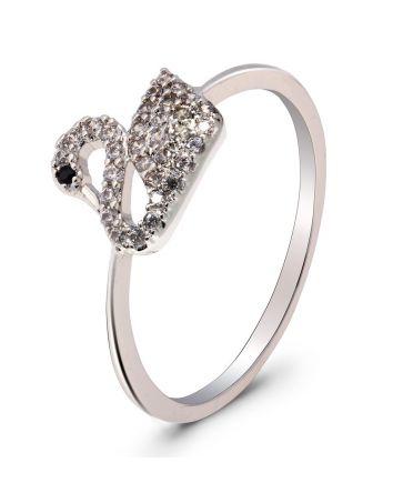 Anna Grace prstýnek Silver Crystal Iconic Swan Logo AGR0070_SILVER