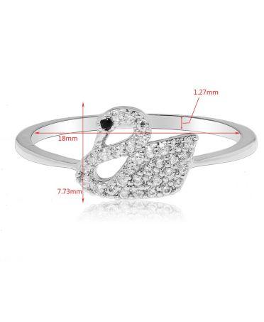 Anna Grace prstýnek Silver Crystal Iconic Swan Logo 70 AGR0070_SILVER