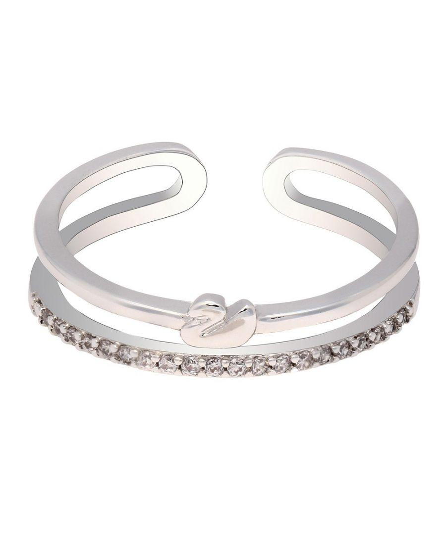 Anna Grace prstýnek Silver Sparkle Crystal Swan 74 AGR0074_SILVER