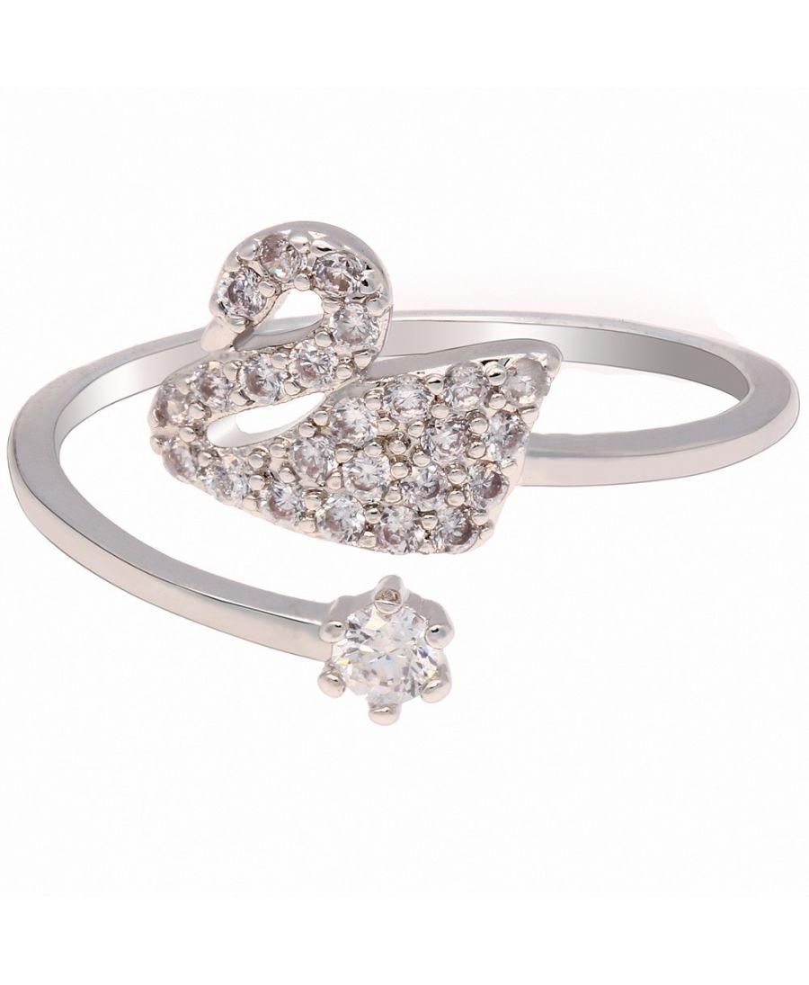 Anna Grace prstýnek Silver Crystal Swan AGR0076_SILVER