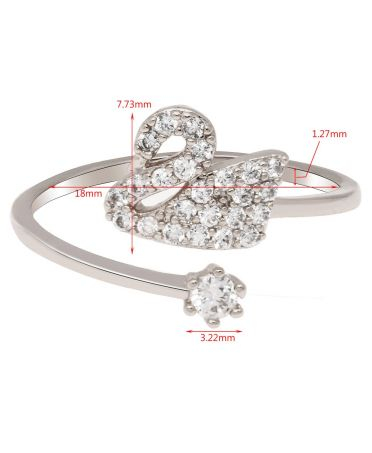 Anna Grace prstýnek Silver Crystal Swan 76 AGR0076_SILVER