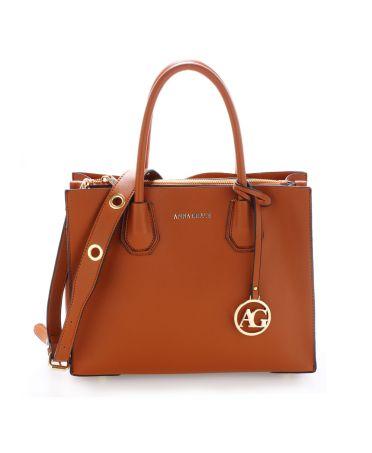 Anna Grace hnědá tote kabelka s doplňky ve zlaté barvě 559 AG00559_BROWN