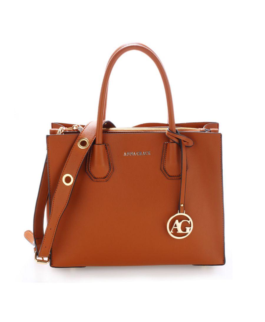 Anna Grace hnědá tote kabelka s doplňky ve zlaté barvě AG00559_BROWN