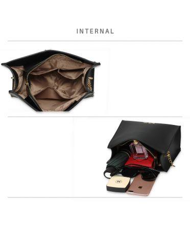 Anna Grace černá módní kabelka crossbody 596 AG00596_BLACK