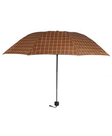 Anna Grace hnědý manuální skládací deštník s potiskem AGU0012_BROWN