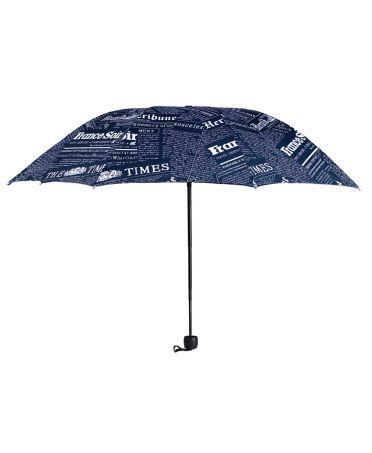 Anna Grace modrý manuální skládací deštník s novinovým potiskem AGU0013_NAVY