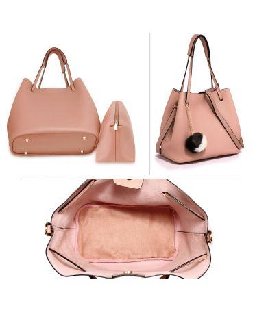 Anna Grace růžová hobo kabelka s pouzdrem a pompom 190 AG00190_PINK