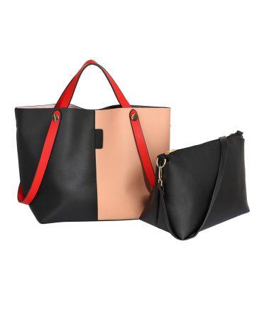 Anna Grace AG00198 - černá / nude shopper kabelka AG00198_BLACK/NUDE1