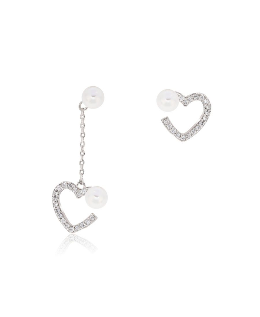 Anna Grace AGE0026 – náušnice Silver Sparkling Crystal Pearl Heart AGE0026_SILVER