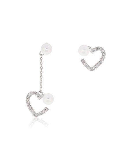 Anna Grace AGE0026 – náušnice Silver Sparkling Crystal Pearl Heart AGE0026_SILVER