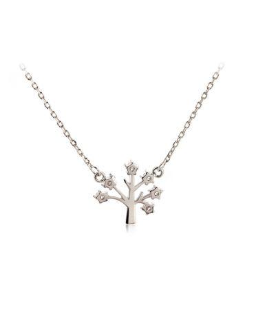 Anna Grace náhrdelník Sparkling Silver Plated Crystal Tree 41 AGN0041_SILVER